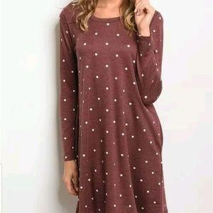 Gilli Wine White Polka Dot Hidden Pockets Dress